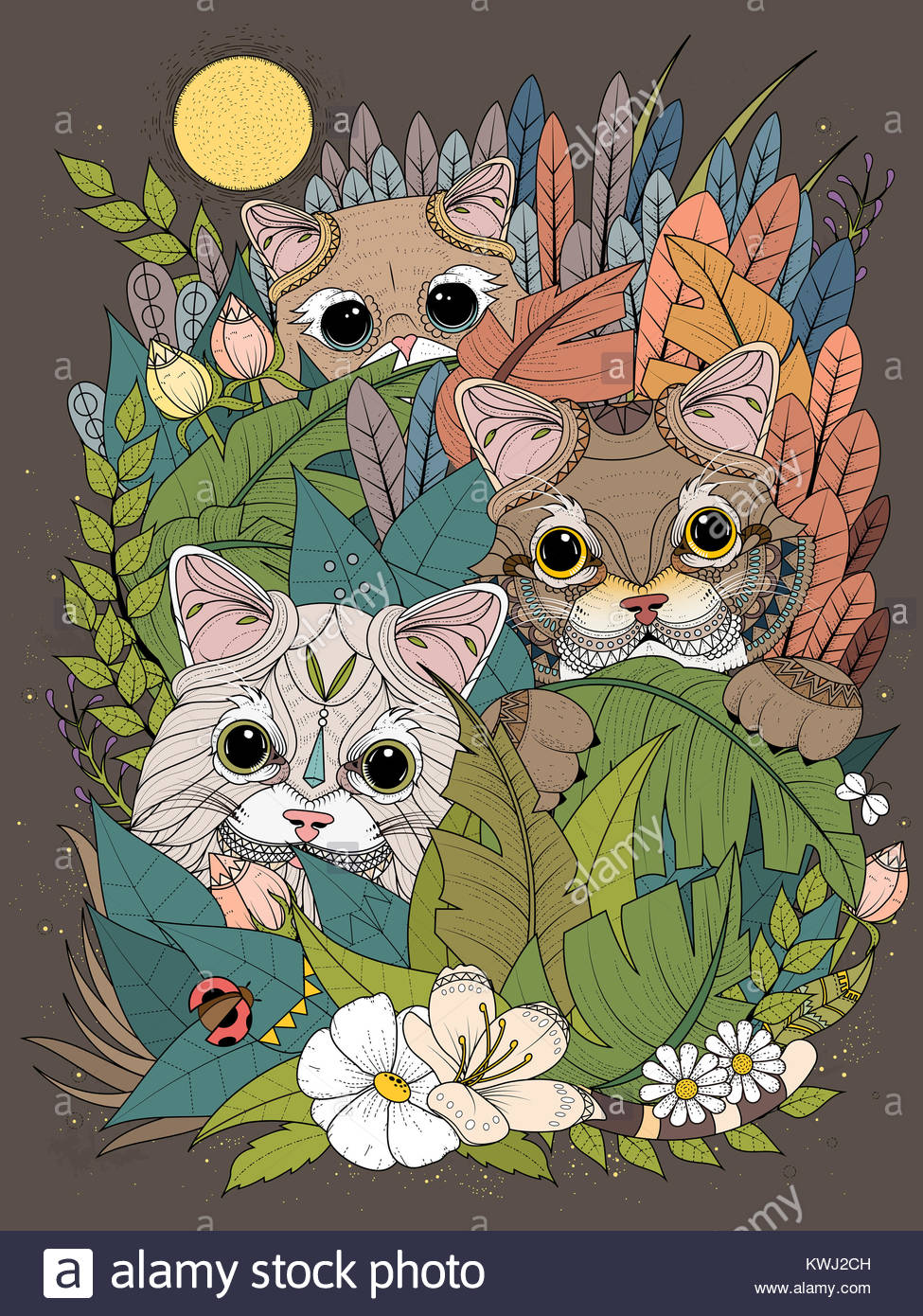Erwachsene Malvorlagen - wilde Kätzchen versteckt sich hinter ...