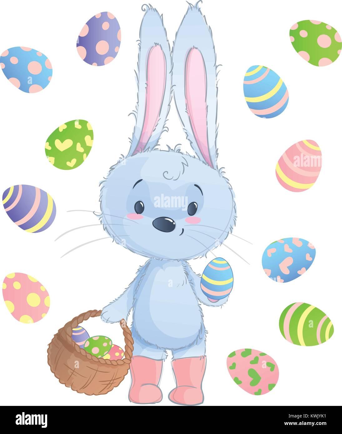 Frohe Ostern Hase Vector Illustration Clipart Für Ostern Grußkarte