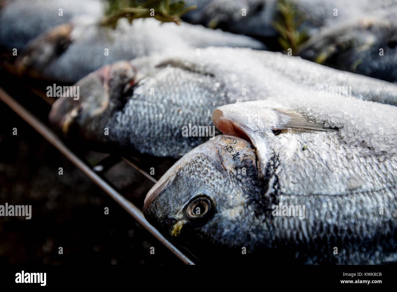 Die Gourmet-küche. Fisch und vegetarischen Zutaten, Fisch, Grill, Avocado. Stockbild