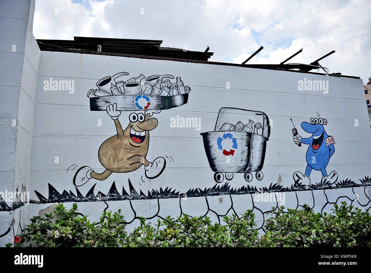 Havanna, Kuba, 11. Mai 2009. Humoristisch Wandmalereien in Havanna, am 11. Mai 2009. Stockbild