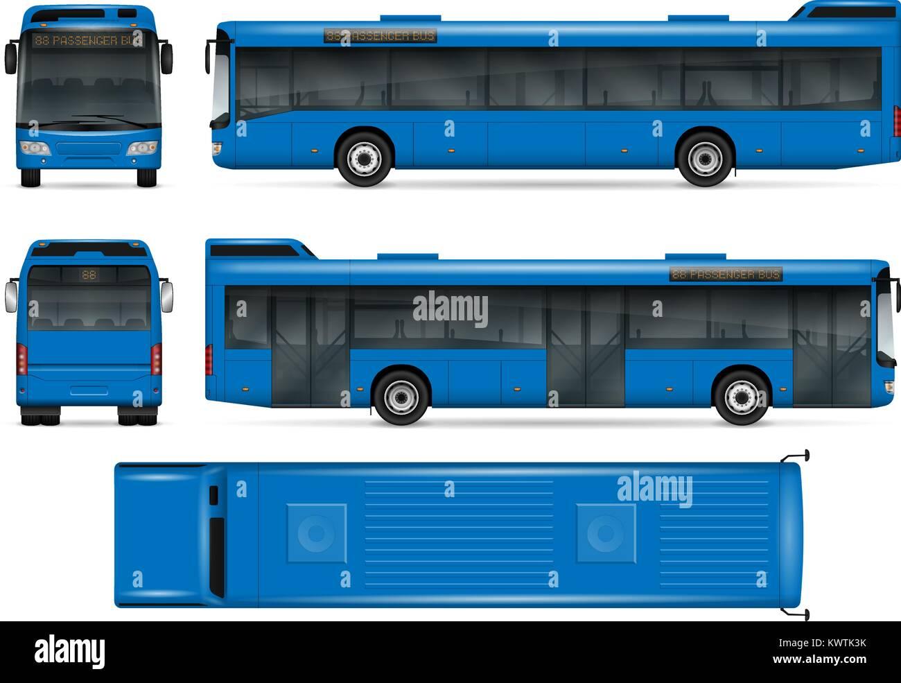 Blue Bus vektor Mock-up für Werbung, Corporate Identity. Isolierte ...