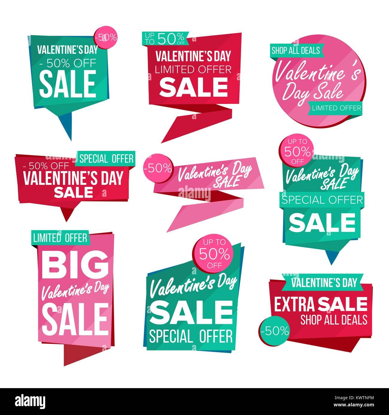 Valentinstag Verkauf Banner Ist Vektor Verkauf Gutschein Banner