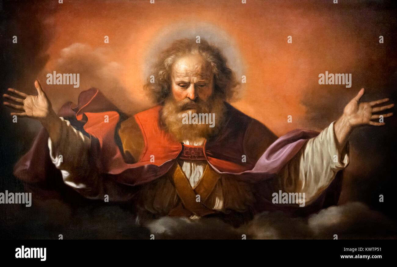 Gott der Vater (Padre Eterno) von Il Guercino (Giovanni Francesco Barbieri, 1591-1666), Öl auf Leinwand, 1640 Stockbild