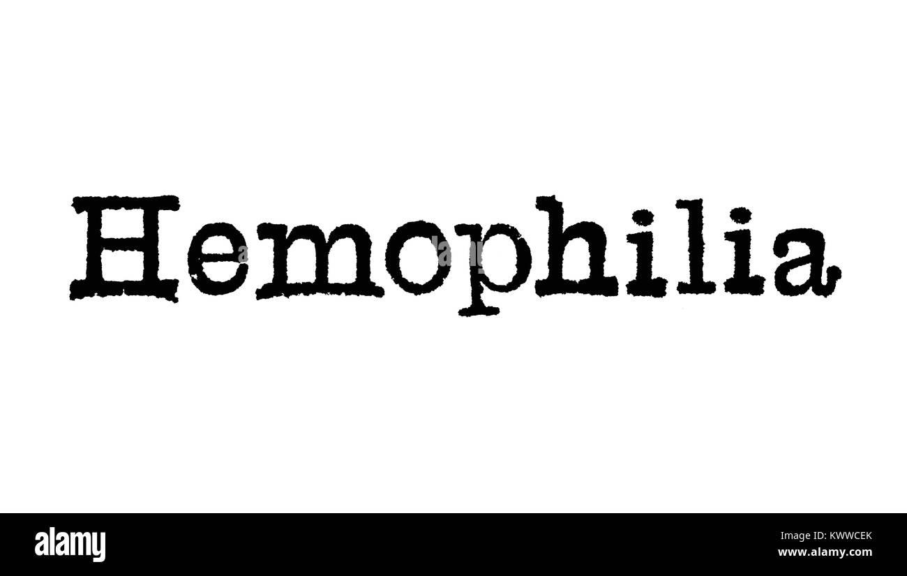 """Das Wort """"hämophilie"""" aus einer Schreibmaschine auf weißem Hintergrund Stockbild"""