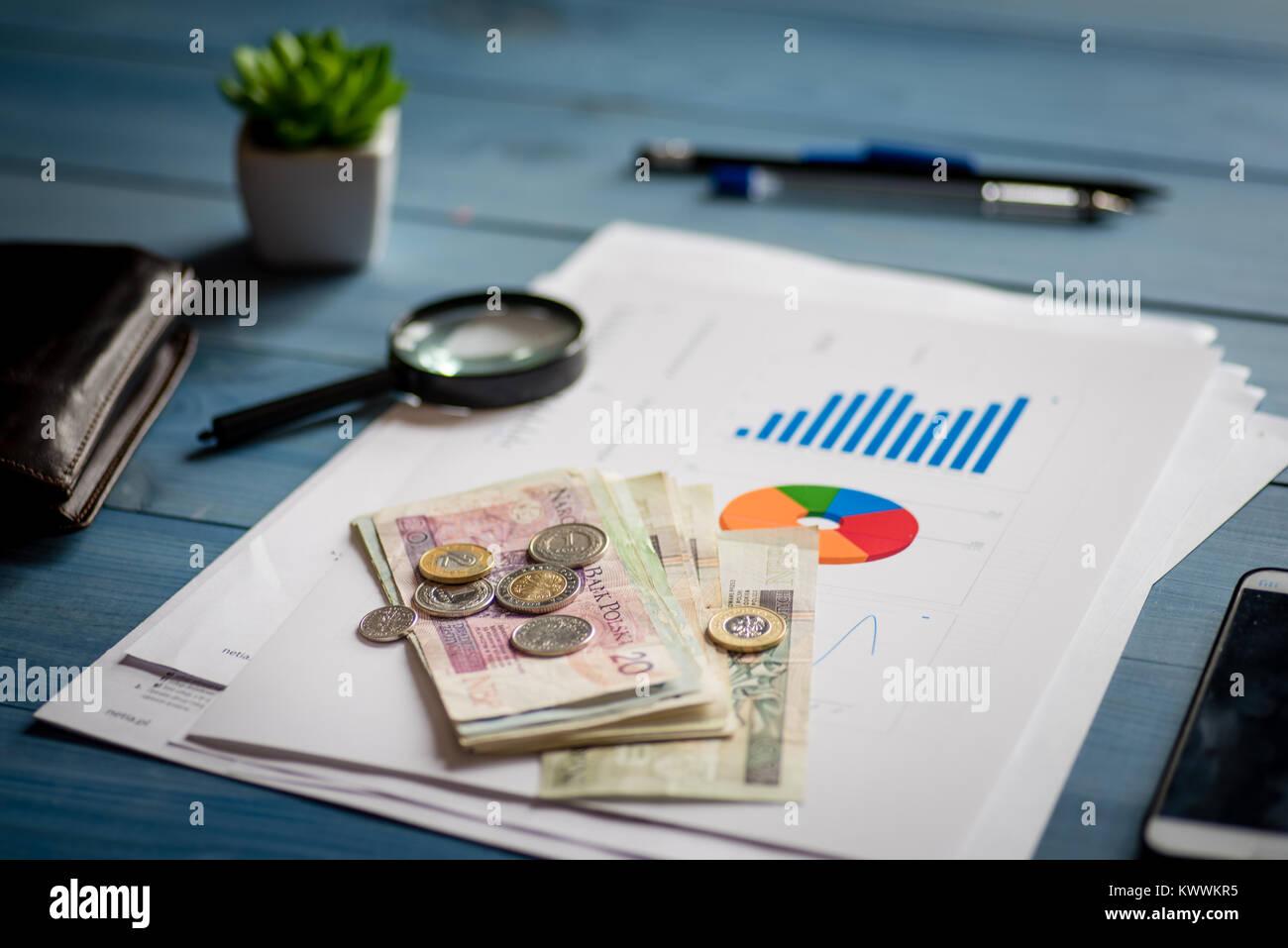 Polnische Geld Banknoten Und Münzen Auf Den Schreibtisch Das