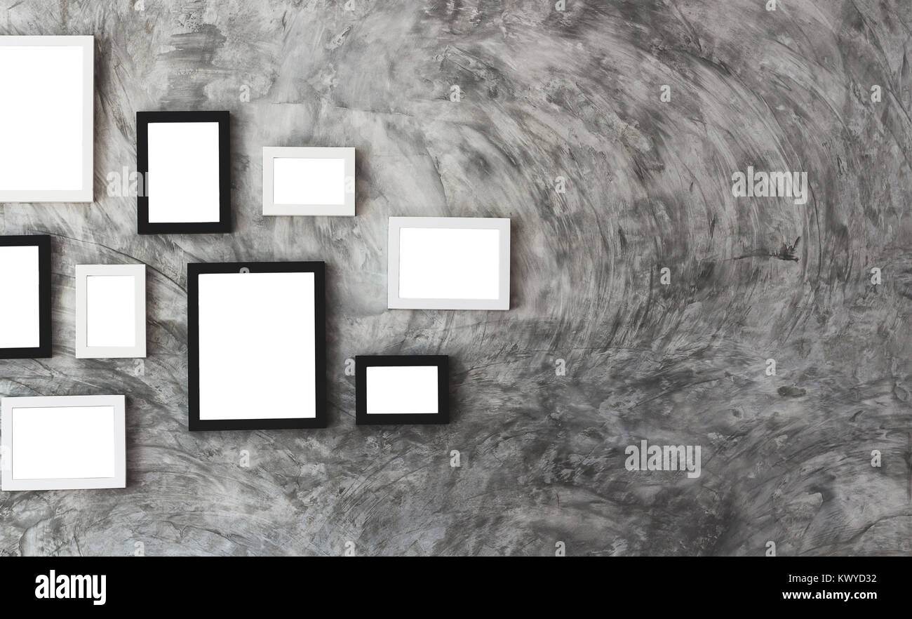 Weiß isoliert Bilderrahmen auf Marmor Wand grau Ton look Vintage ...