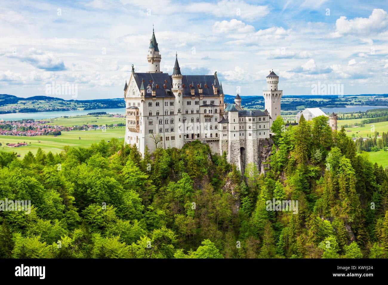 Schloss Neuschwanstein oder Neue swanstone Castle ist ein Neoromanischen Palace in Hohenschwangau Village in der Stockbild