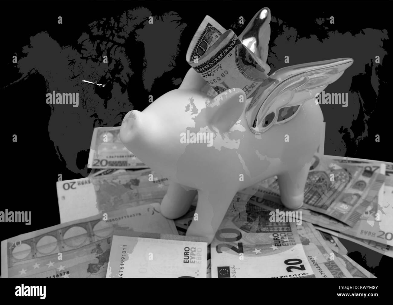 Zusammenfassung von piggy Bank und Wort Karte. Geld sparen für Urlaub Stockbild