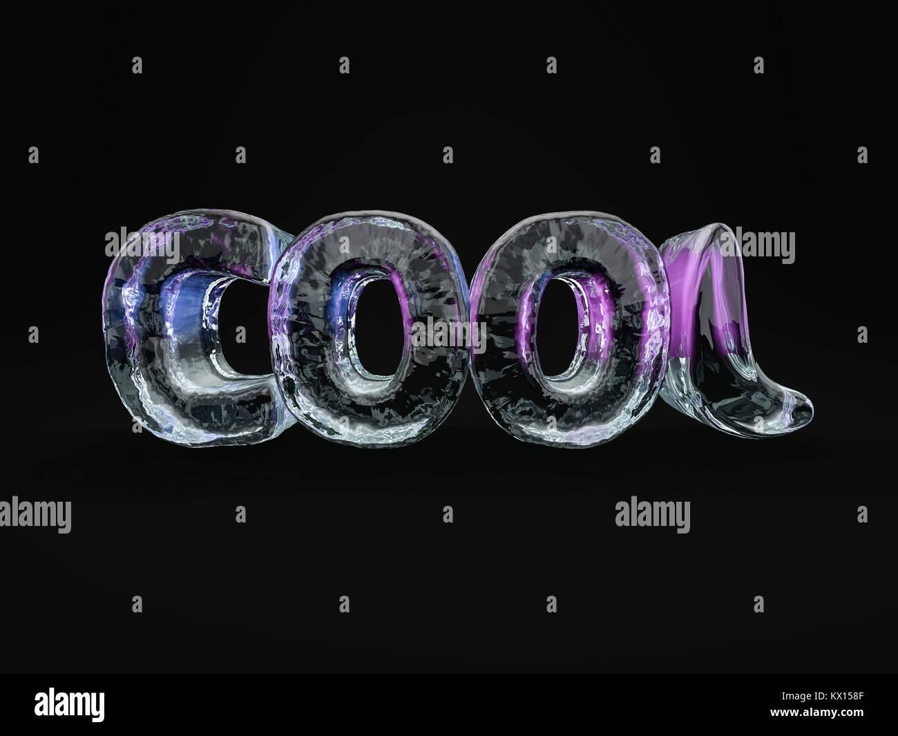 Wort Cool Aus Eis Buchstaben Auf Schwarzem Hintergrund 3d Rendering