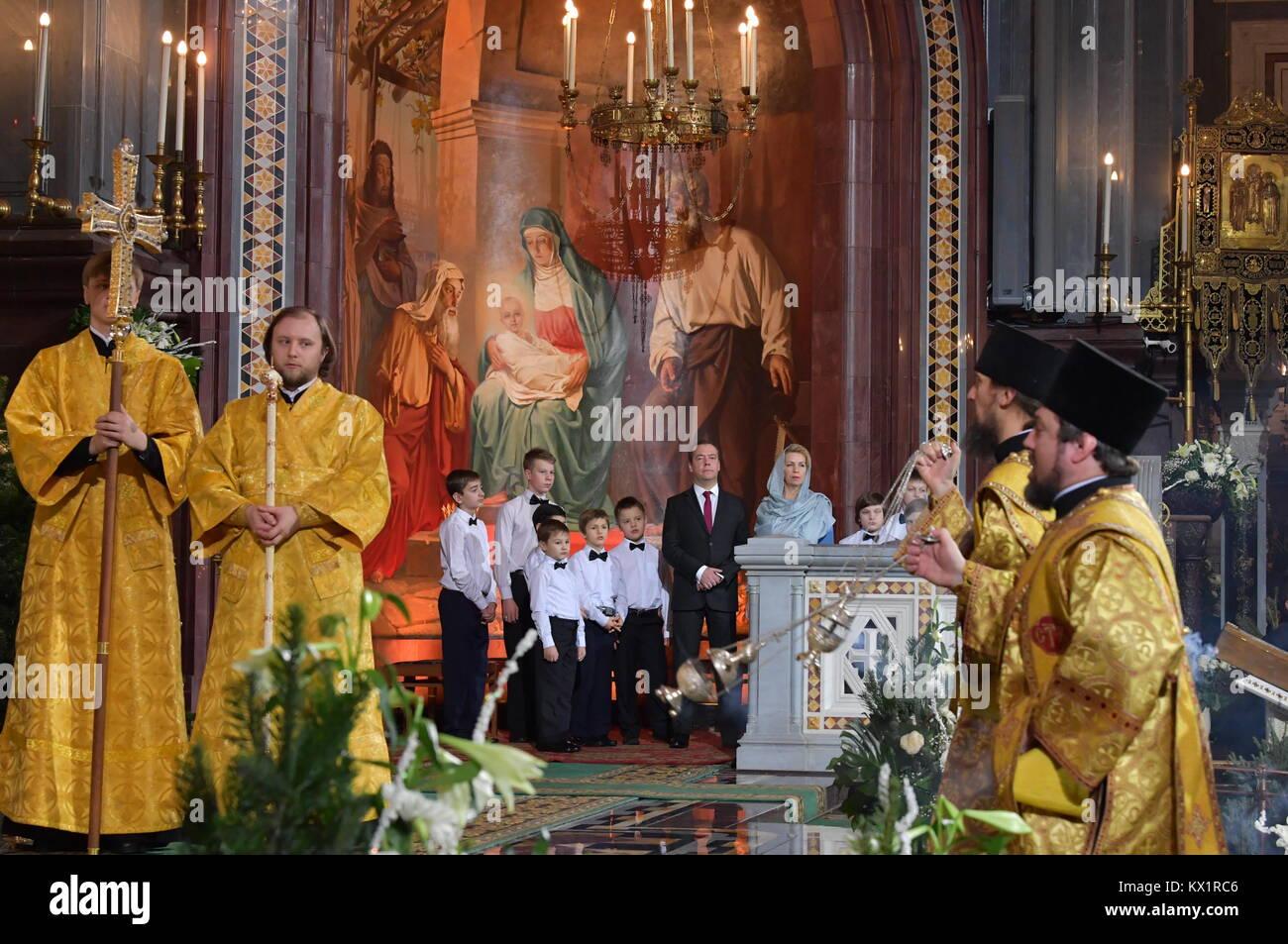 Weihnachten Am 6 Januar.Moskau Russland 6 Januar 2018 Russlands Ministerpräsident