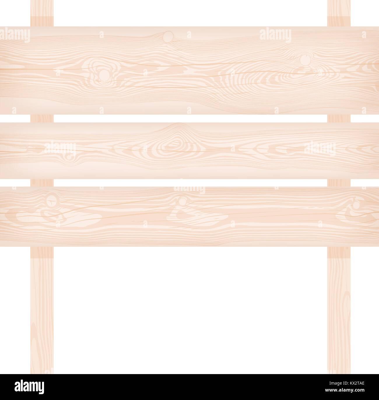 Natürliche Strukturierte Holz  Drei Planken Und Zwei Pole Repräsentant Mit  Ästen Und Rissen Vector Illustration