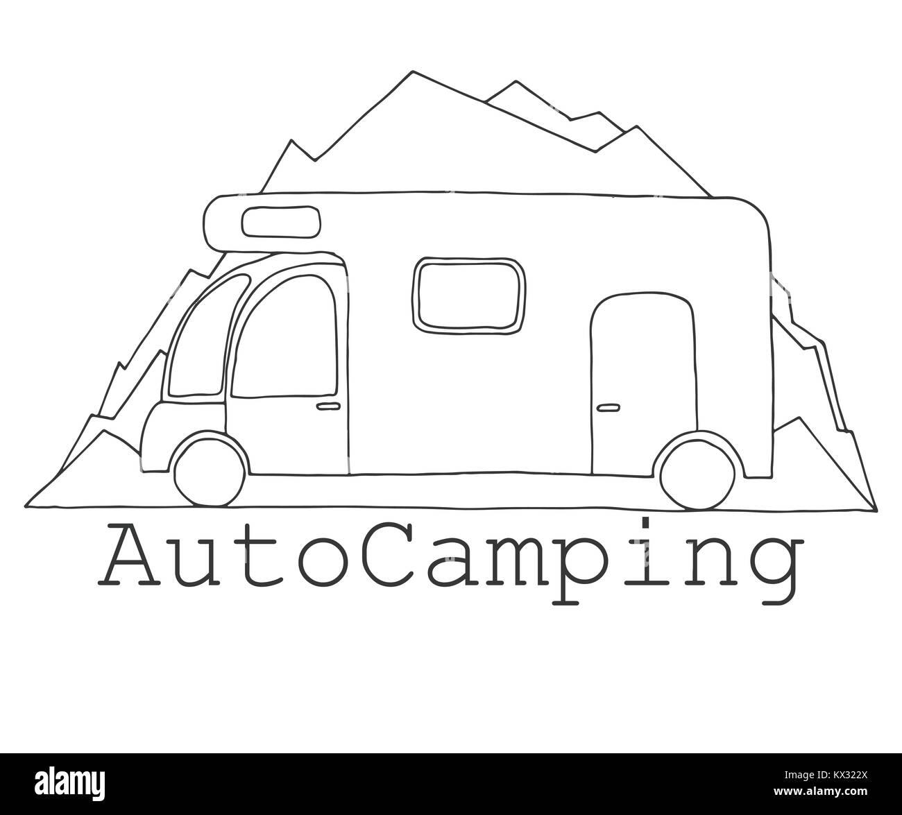 Camper auf dem Hintergrund der Berge. Wappen, logo Auto Camping ...
