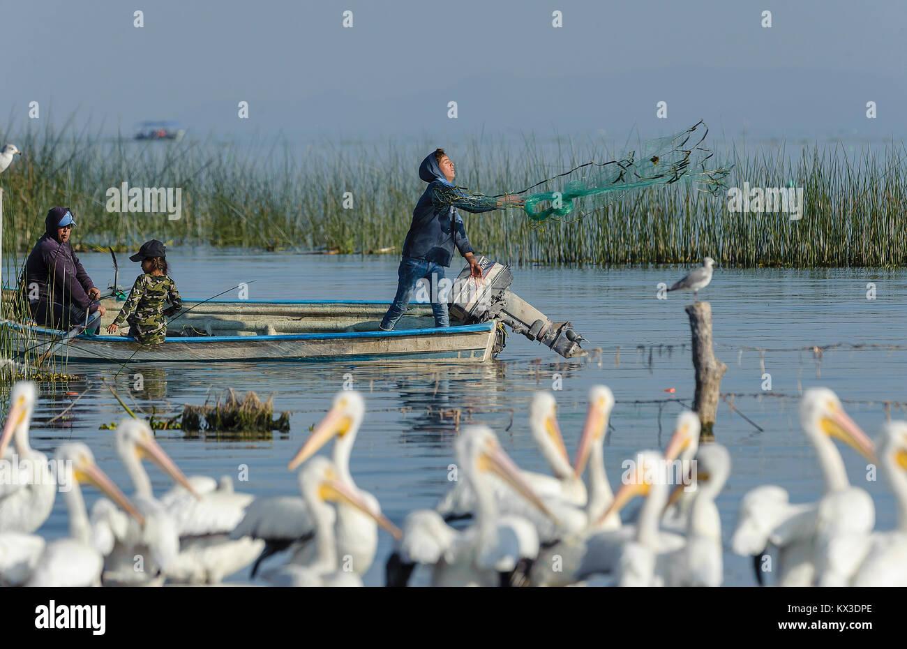 Fischer casting Net auf der Chapala See, Jalisco, Mexiko Stockbild