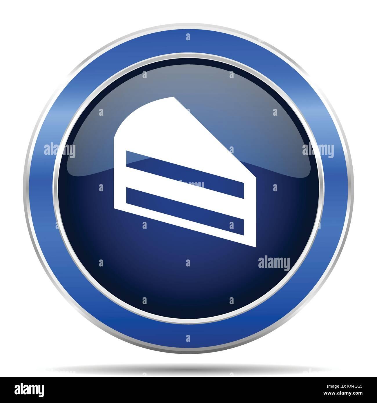 Kuchen Vektor icon. Modernes Design Blau Silber metallisch glänzend ...