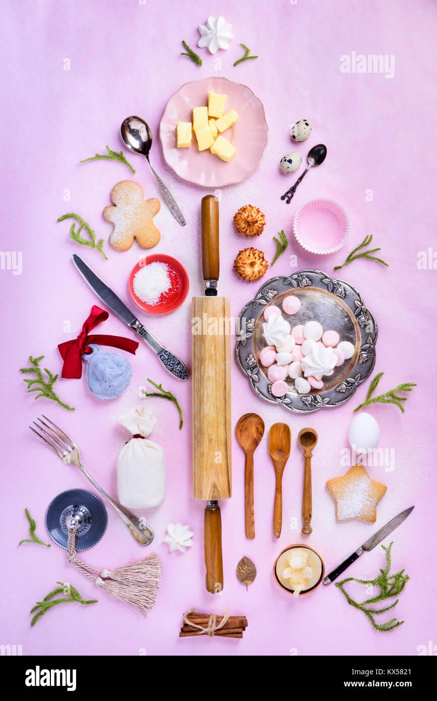 Backen Oder Kochen Zutaten Angeordnet Kuche Artikel Fur Kuchen