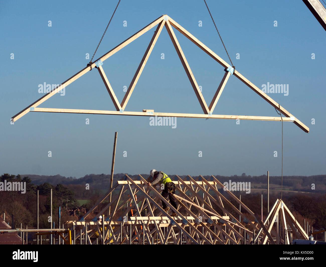 Holzdach einen Rahmen auf dem Dach des neuen Hauses, Grantham ...