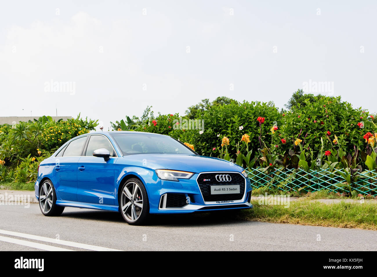 hongkong, china, 21.august 2017: audi rs3 limousine 2017 test drive