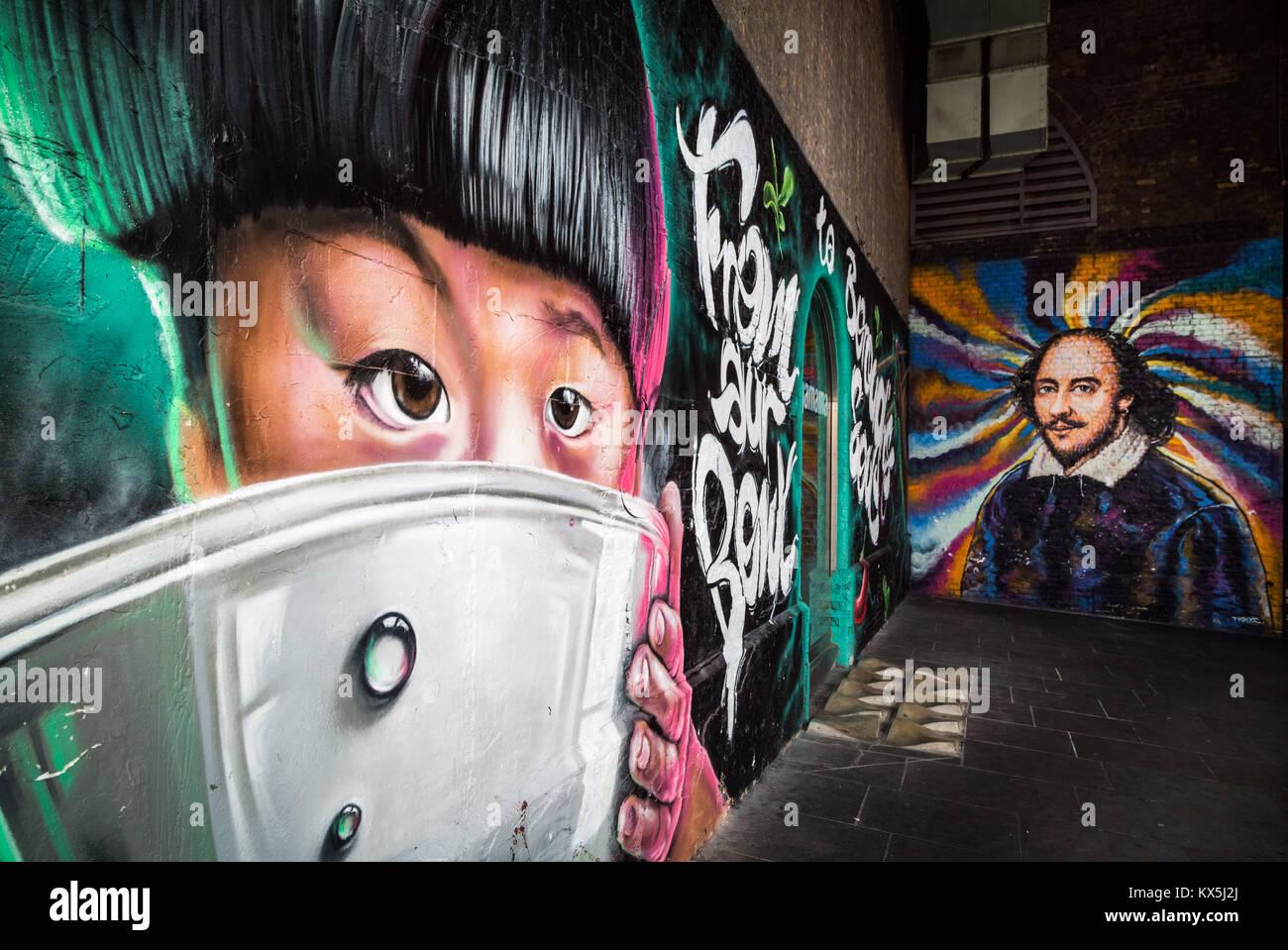 Wagamama restaurant Eingang und William Shakespeare Wandbild auf eine Mauer in den Knast Street, Southwark, London. Stockbild