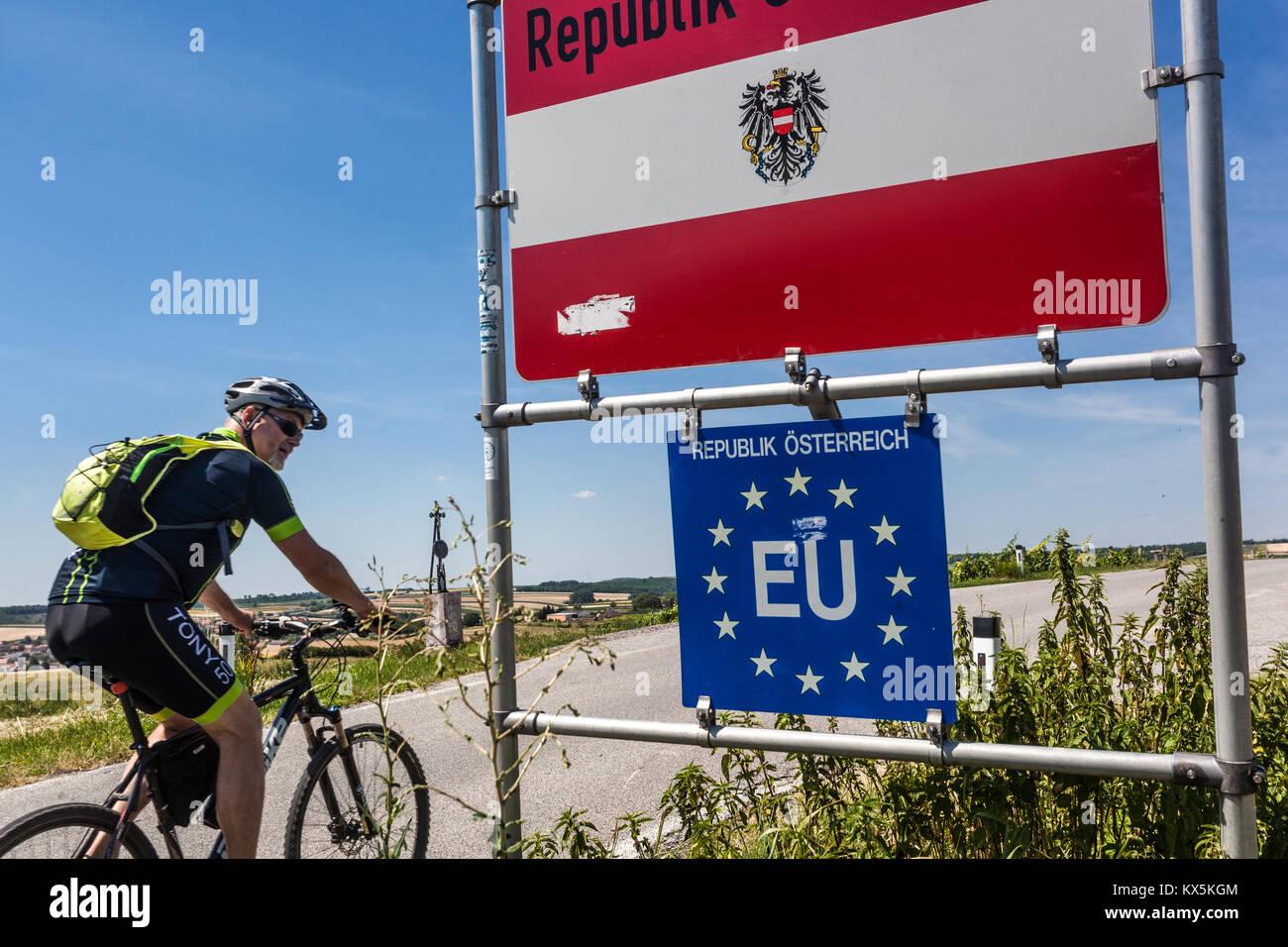 Grenze, Österreich, Europäische Union, Europa Stockbild