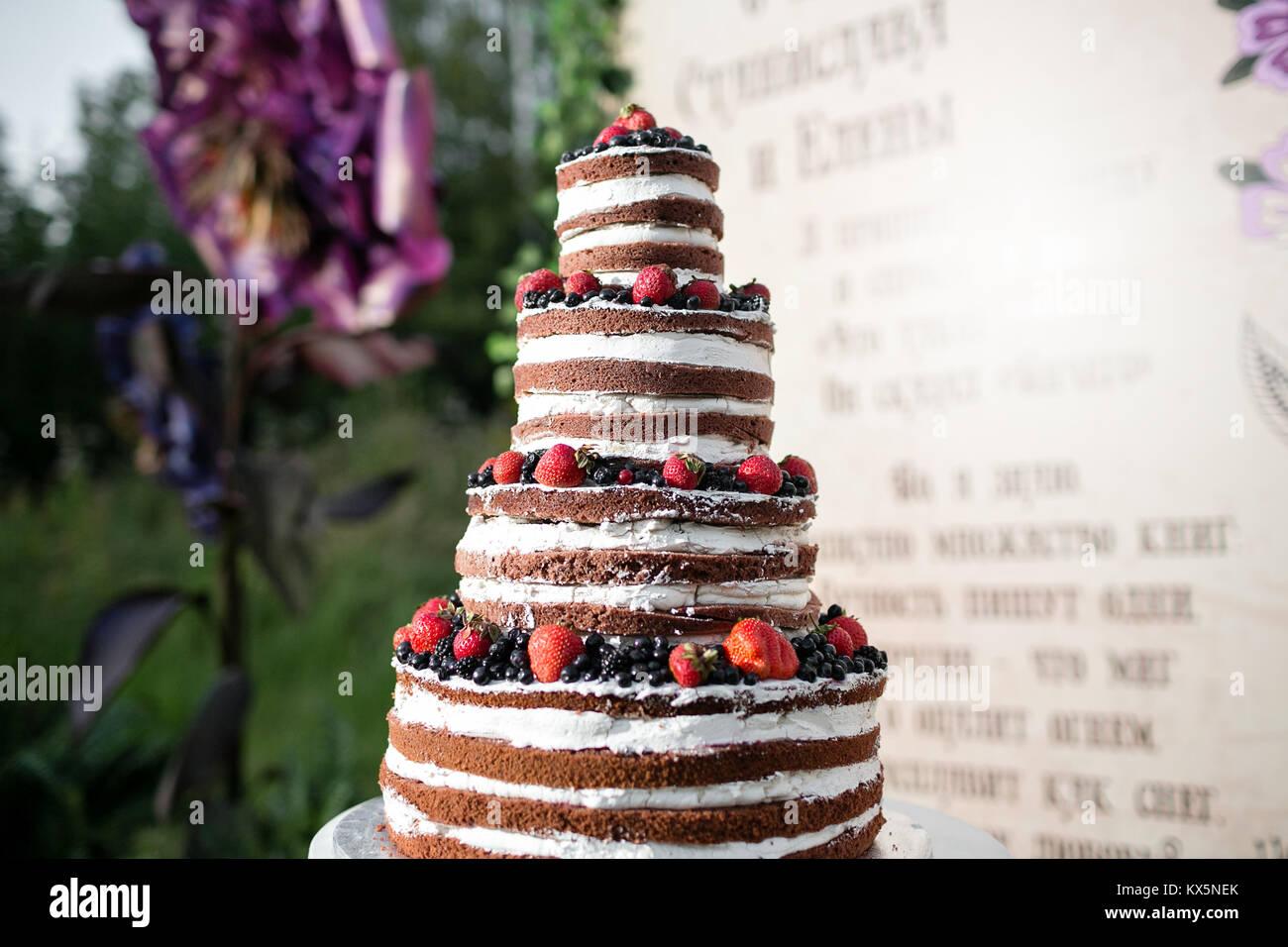 Runde Mehrstufige Hochzeitstorte Mit Schwamm Sahne Marmelade Und