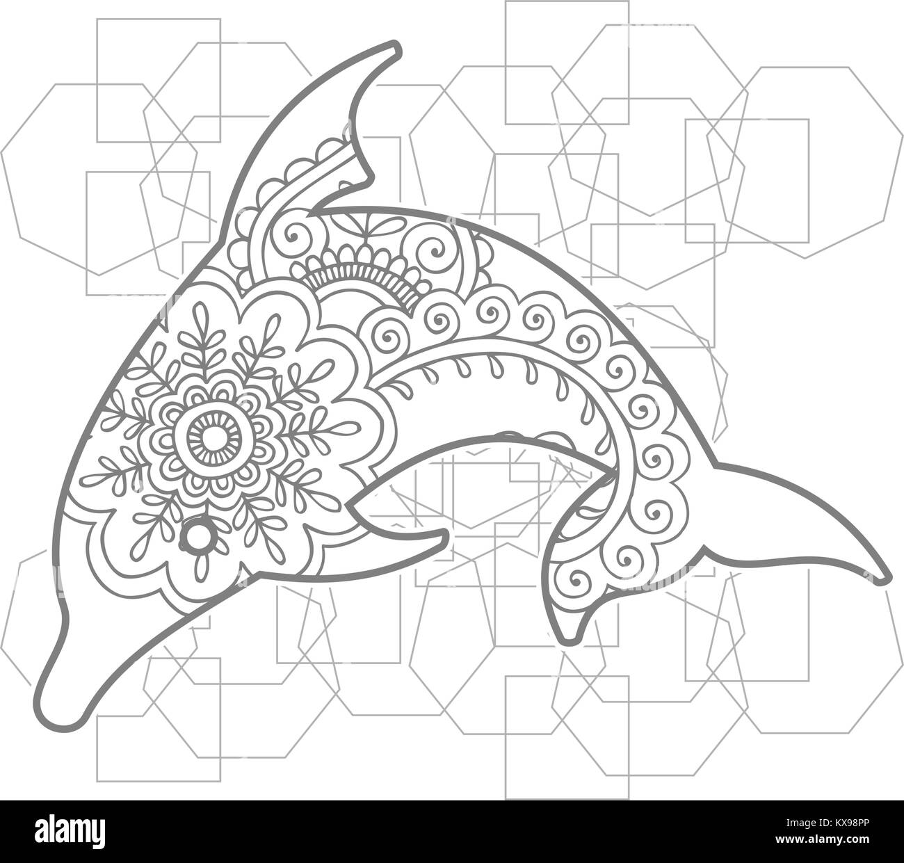 Hand Dolphin doodle Tier paisley nach Stress release Färbung Seite ...