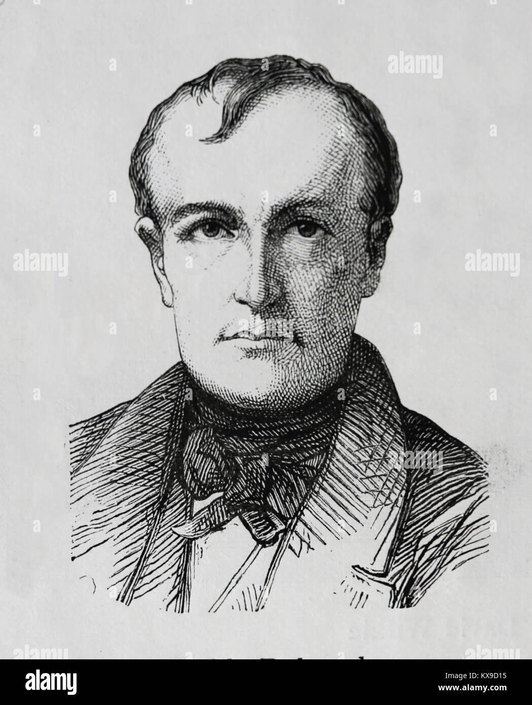Paul Delaroche (1797-1859). Französische Maler. Romantik. Gravur, 1883. Stockbild