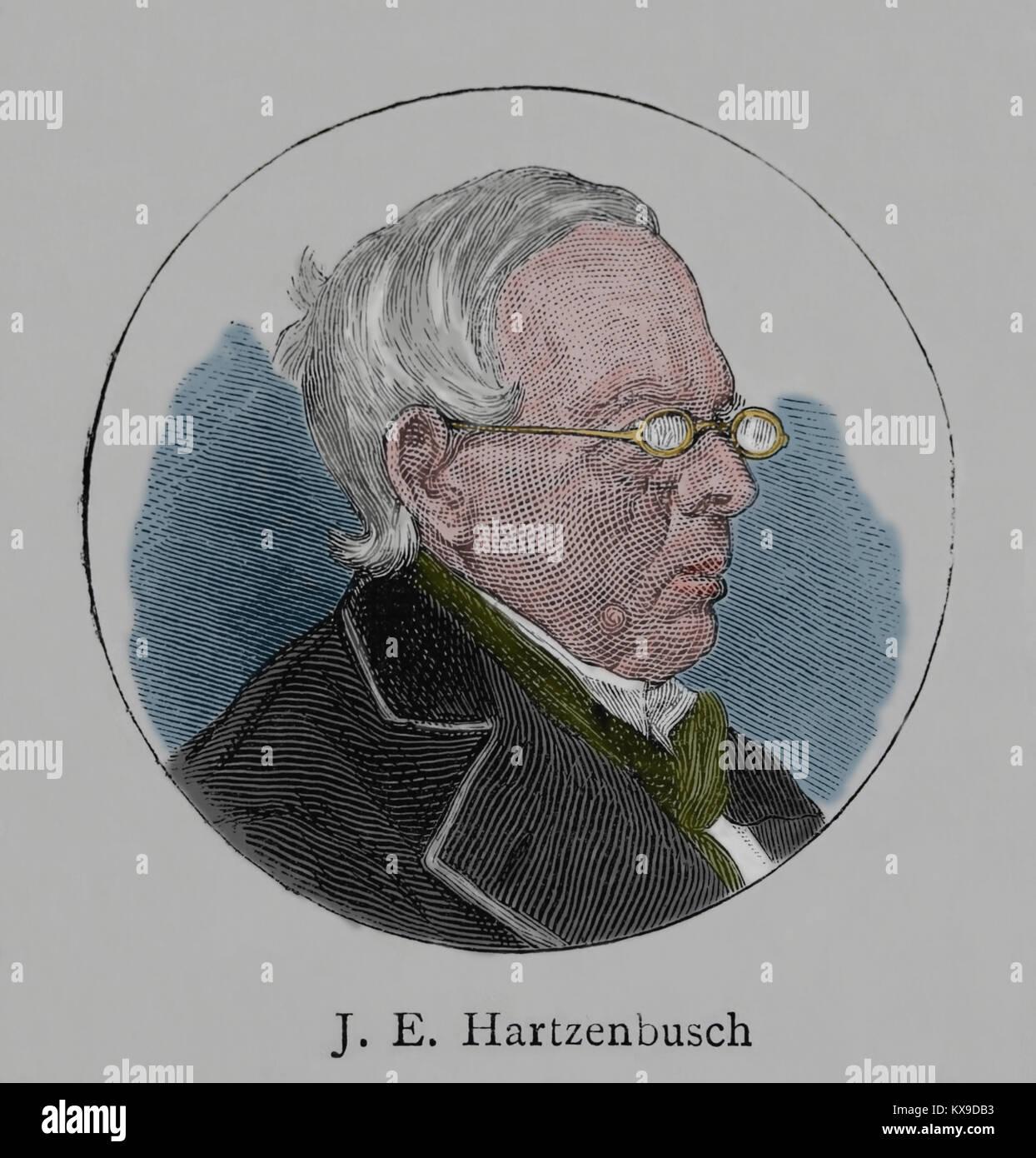 Juan Eugenio Hartzenbusch (1806-1880). Spanische Dramatiker. Gravur, 1883. Stockbild