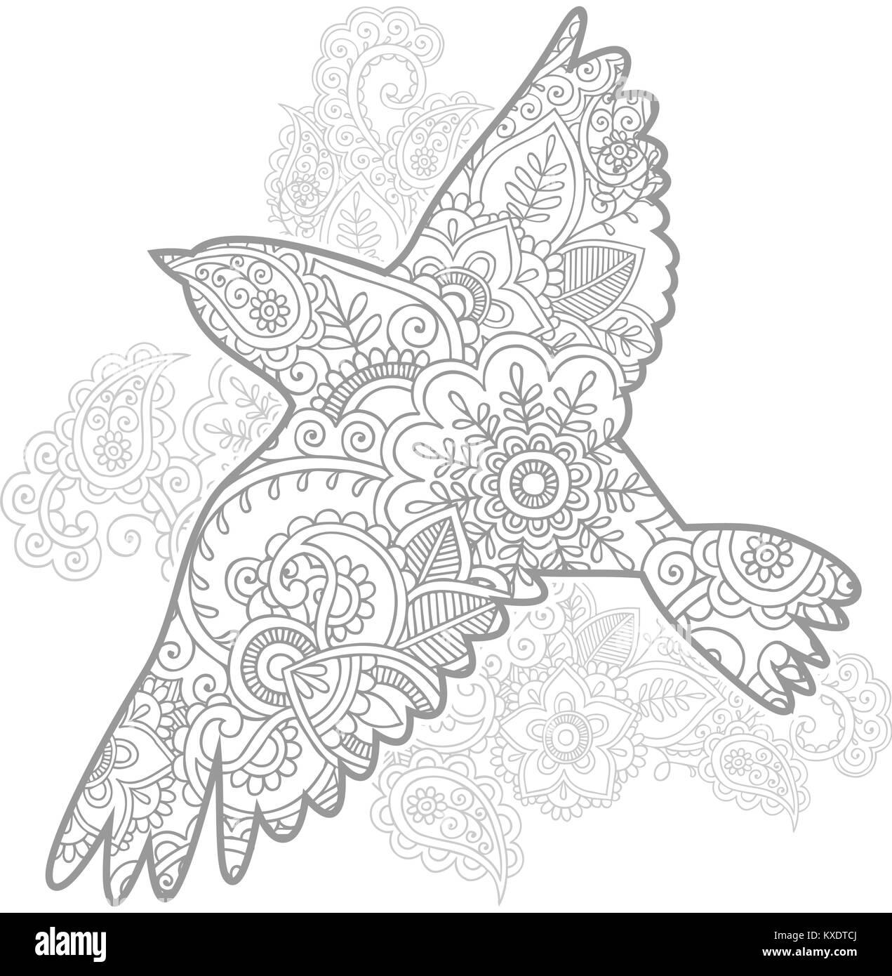Hand Gezeichnet Fliegender Vogel Doodle Tier Paisley Nach