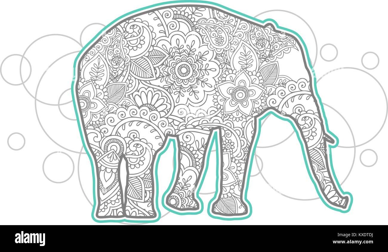 Hand gezeichnet Elefant doodle Tier paisley nach Stress release ...
