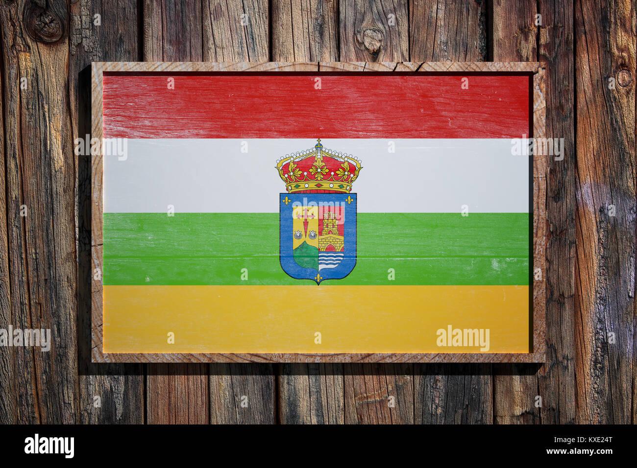 3D-Rendering für eine La Rioja Flagge auf einem Holzrahmen und einem ...