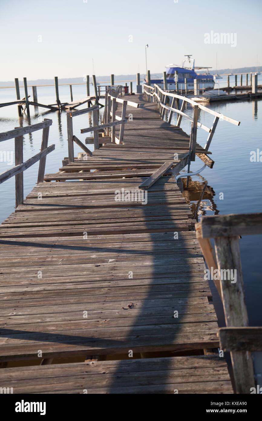 Pier beschädigt nach dem Hurrikan Irma. Stockbild