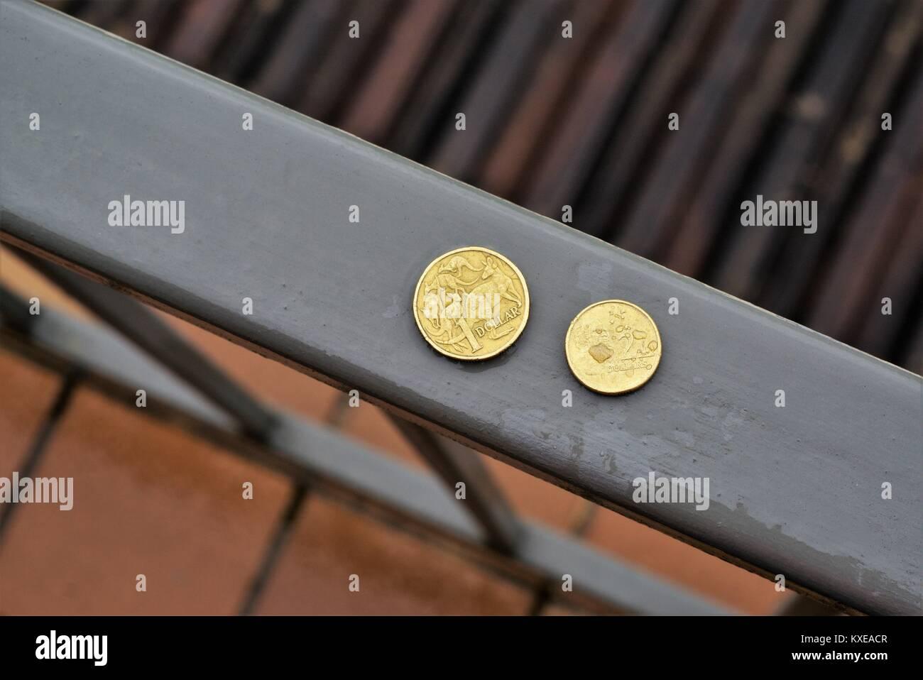 Australische Münzen Im Freien Bei Regen Im Tageslicht Australische