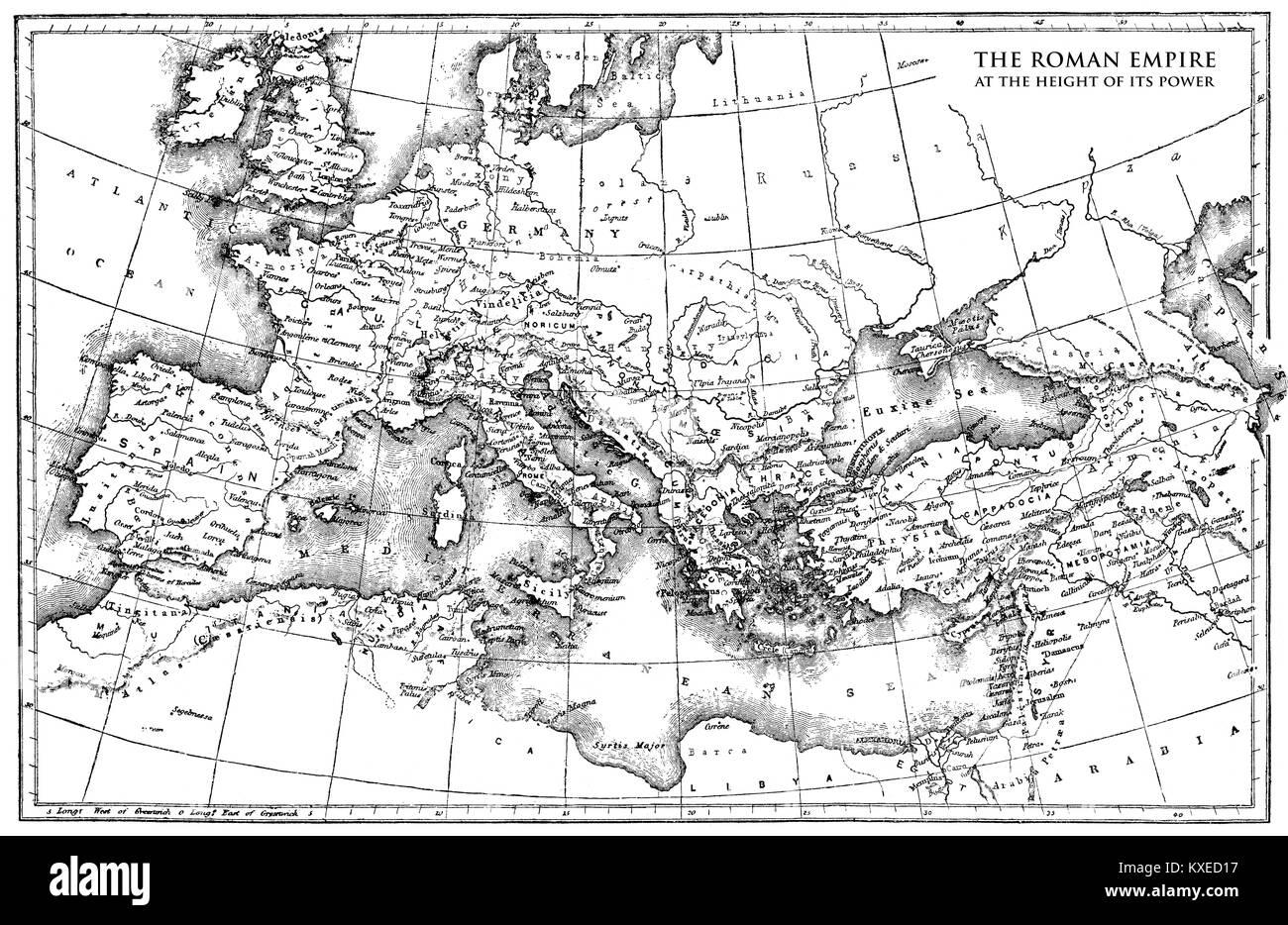 Historische Karte des römischen Reiches Stockbild