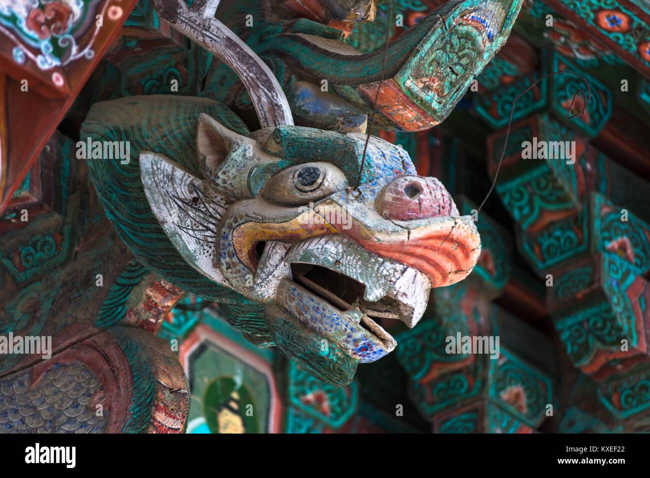 Geschnitzten Drachen eingehend Pulguksa-Tempel, Kyongju, Südkorea. Stockbild