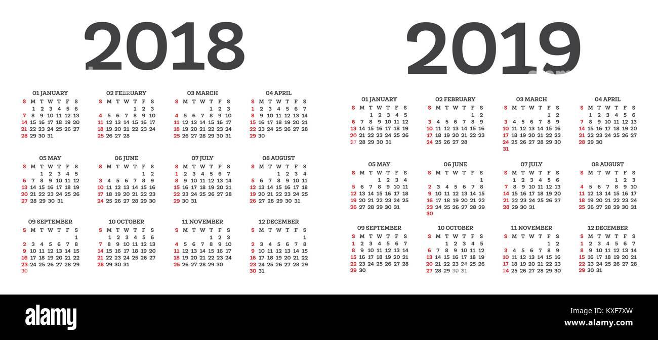 kalender 2018 2019 isoliert auf wei em hintergrund woche. Black Bedroom Furniture Sets. Home Design Ideas