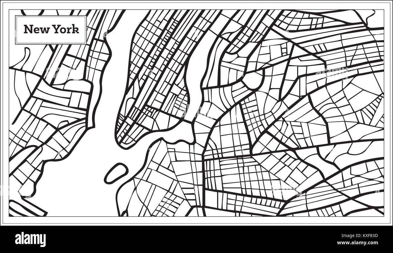 Amerika Karte Schwarz Weiß.New York Usa Karte In Schwarz Und Weiß Vector Illustration