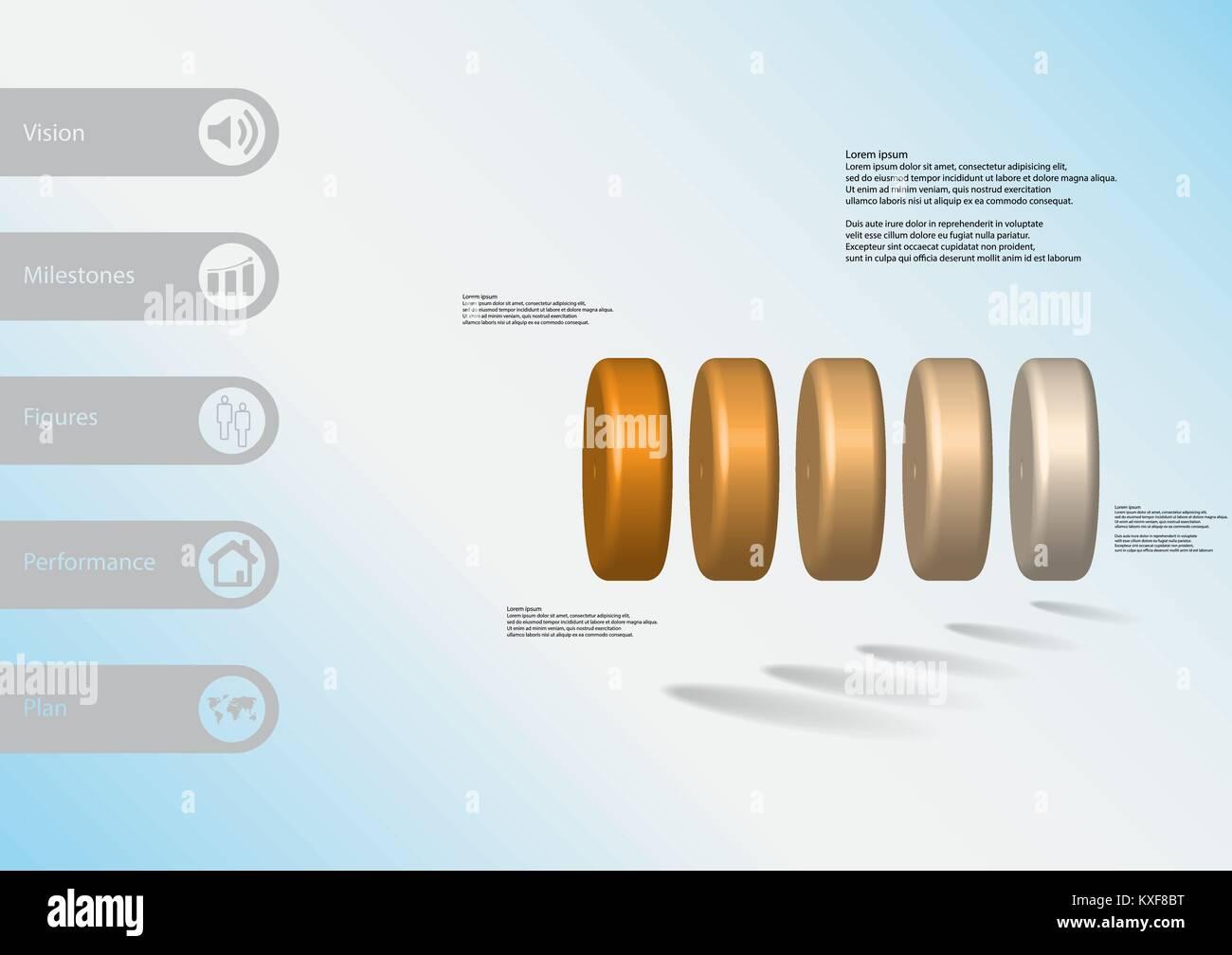 3D-Illustration Infografik Vorlage mit dem Motiv des fünf orange Zylinder horizontal mit einfachen Zeichen Stockbild