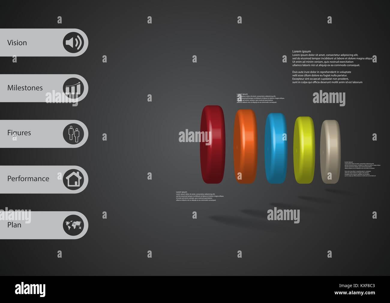 3D-Illustration Infografik Vorlage mit dem Motiv des fünf Farbe Zylinder horizontal mit einfachen Zeichen und Stockbild
