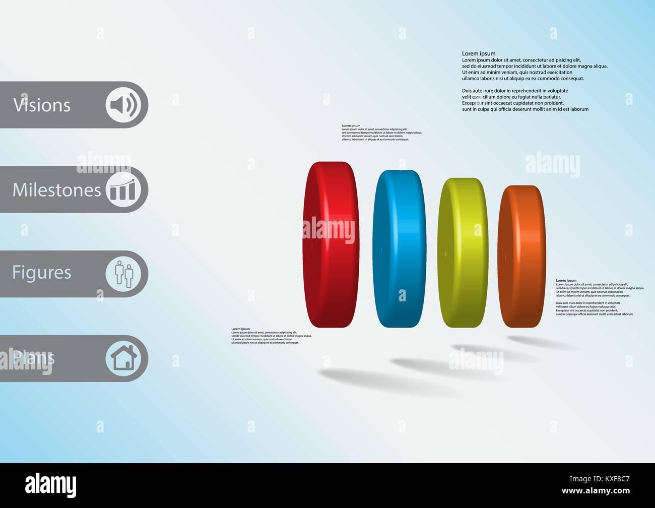 3D-Illustration Infografik Vorlage mit dem Motiv des 4-Zylinder horizontal mit einfachen Zeichen und Mustertext Stockbild