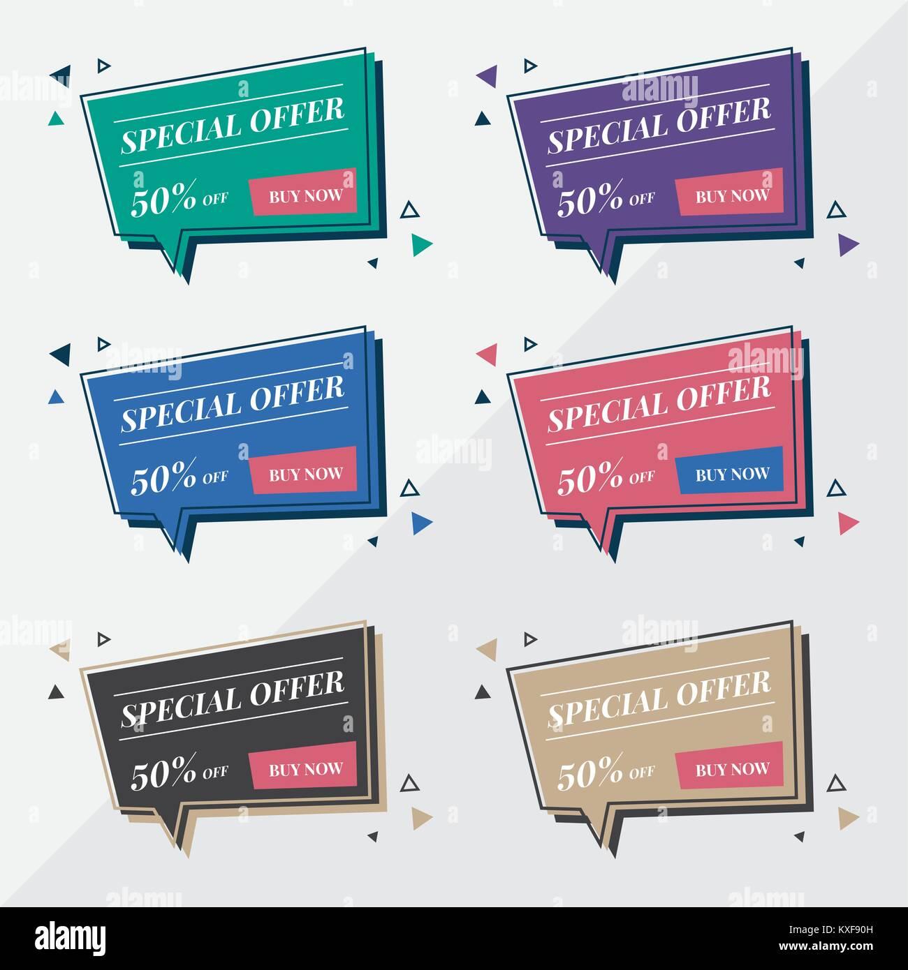 Wohnung Verkauf Banner Design Vorlagen In Memphis Retro Style