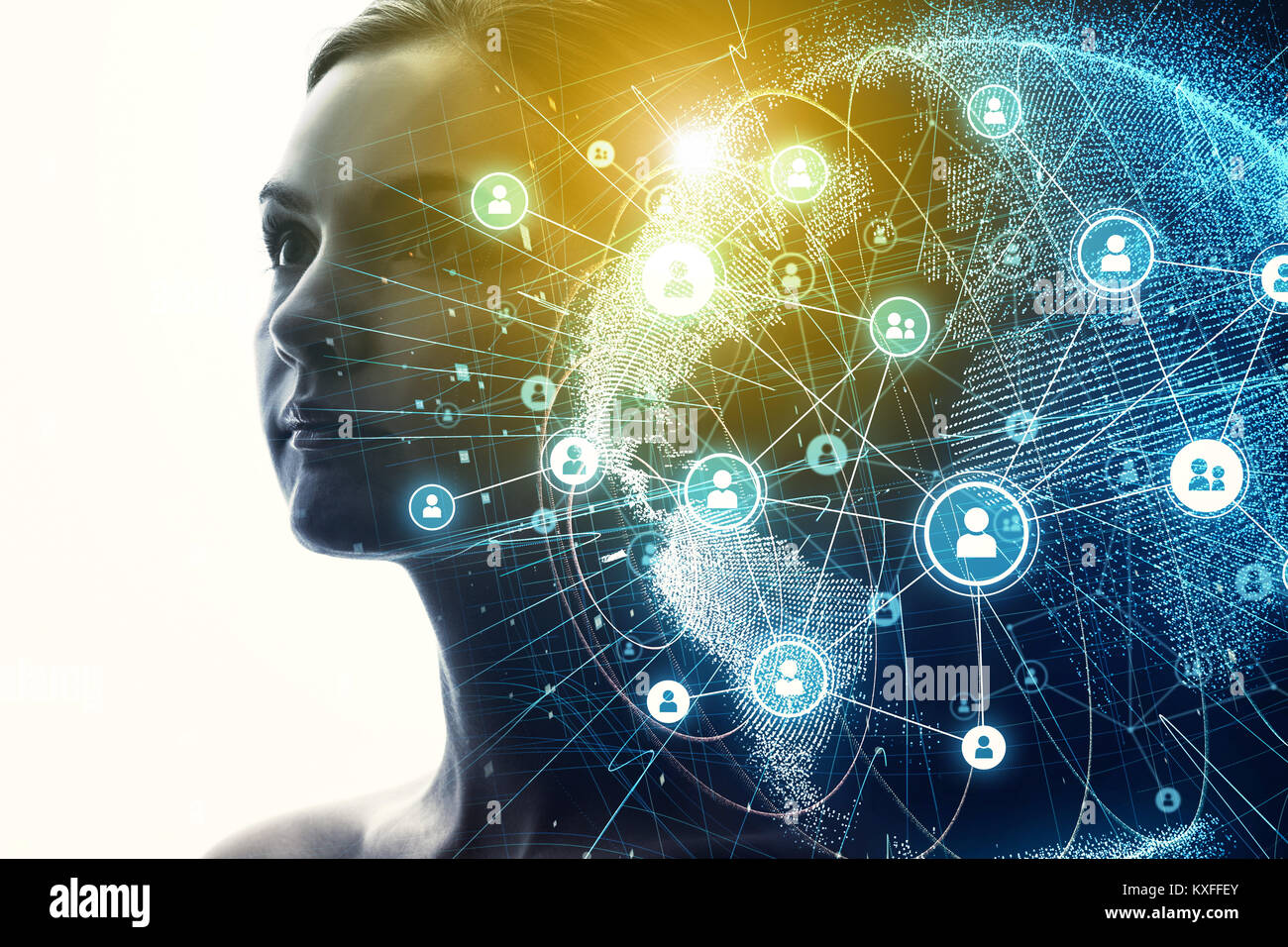 Die globale Kommunikation Netzwerk und KI (Künstliche Intelligenz) Konzept. Stockbild