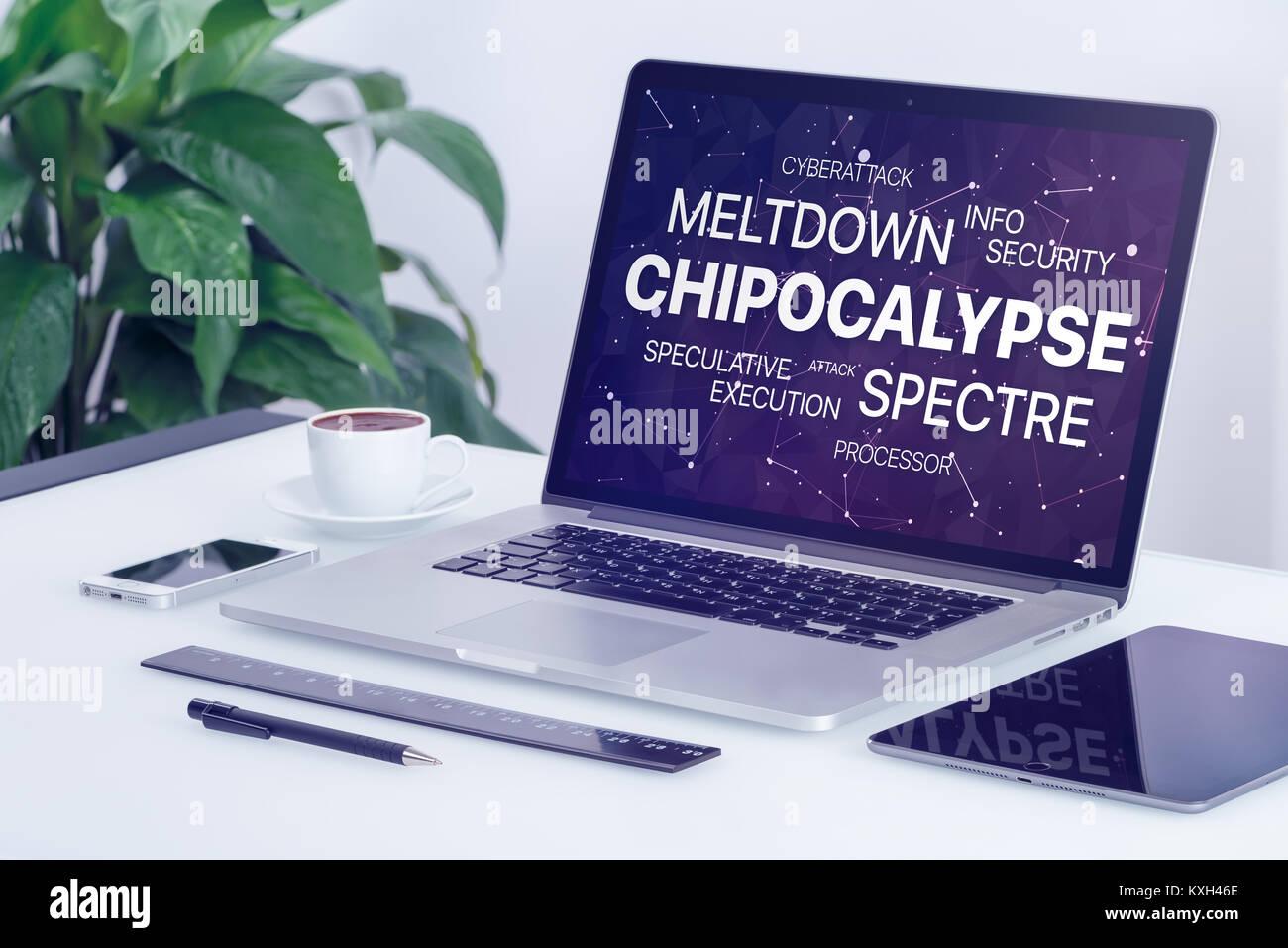 Chipocalypse Konzept mit Kernschmelze und Gespenst Bedrohung Wort Cloud auf dem Laptop Bildschirm. Stockbild