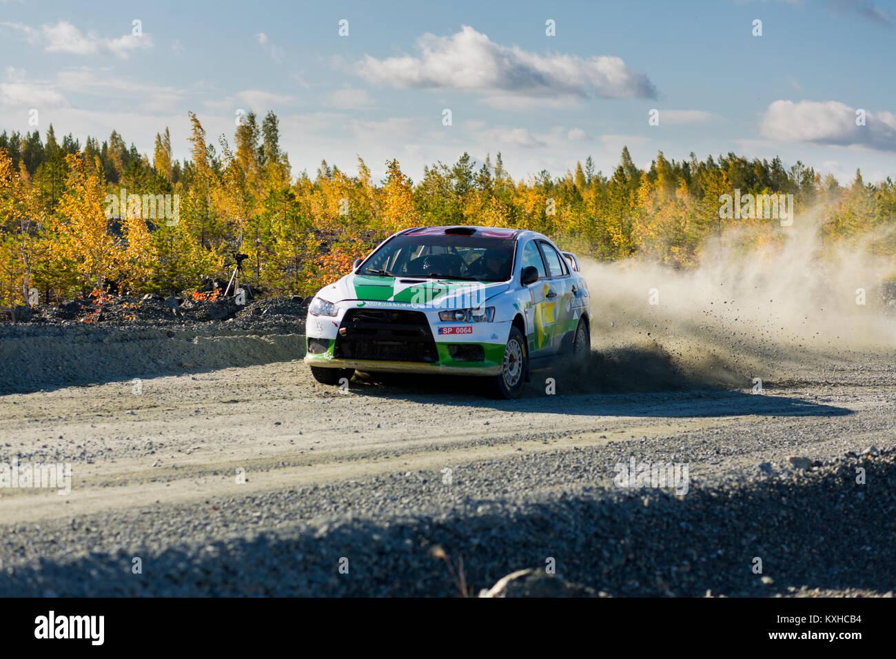 Asbest, Russland, September 17, 2017 - 16 Phase der Russischen Cup 2017 Rallye 2017 tilobite', Auto Mitsubishi Stockbild