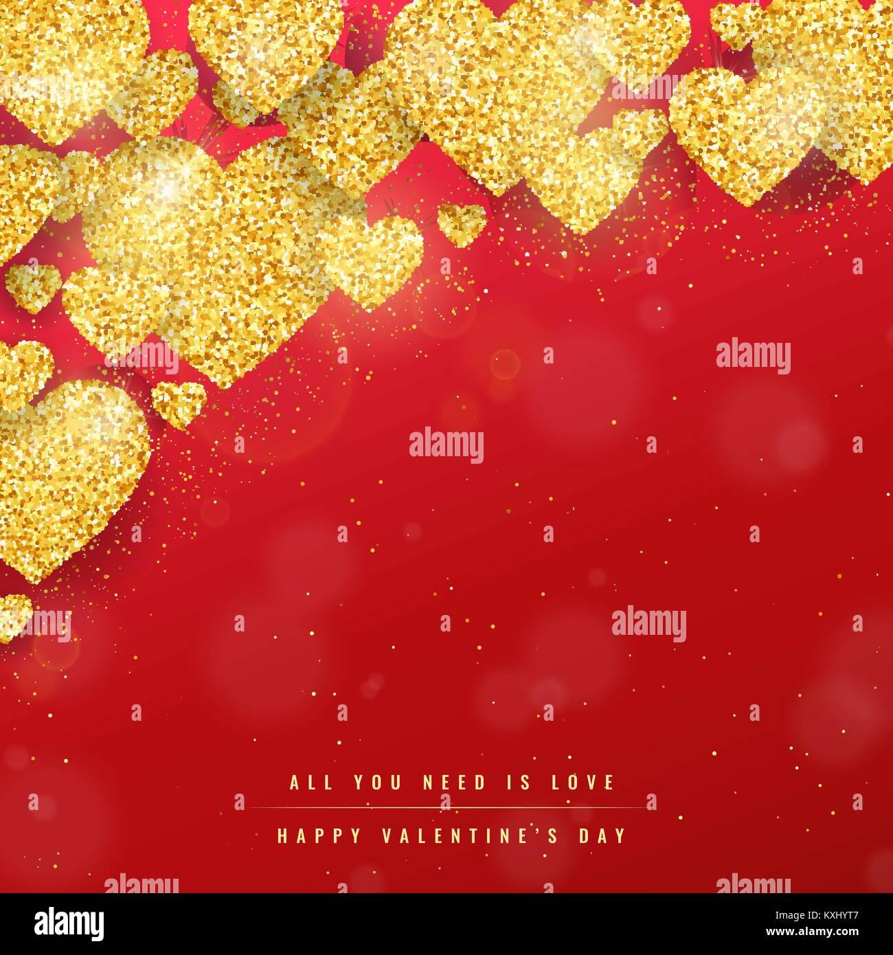 Happy Valentines Tag Grußkarte mit Gold funkelnde Herzen Muster auf ...