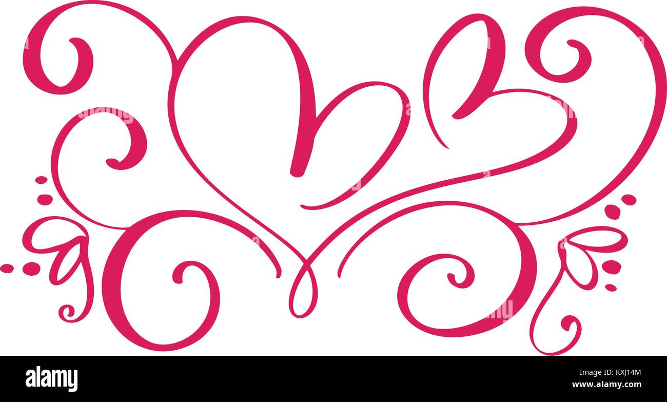Vektor Valentines Tag Der Kalligraphie Vintage Herzen Gedeihen. Hand  Sketchy Kalligraphie Valentine Liebe Und Hochzeit Einladung Karte Gezogen