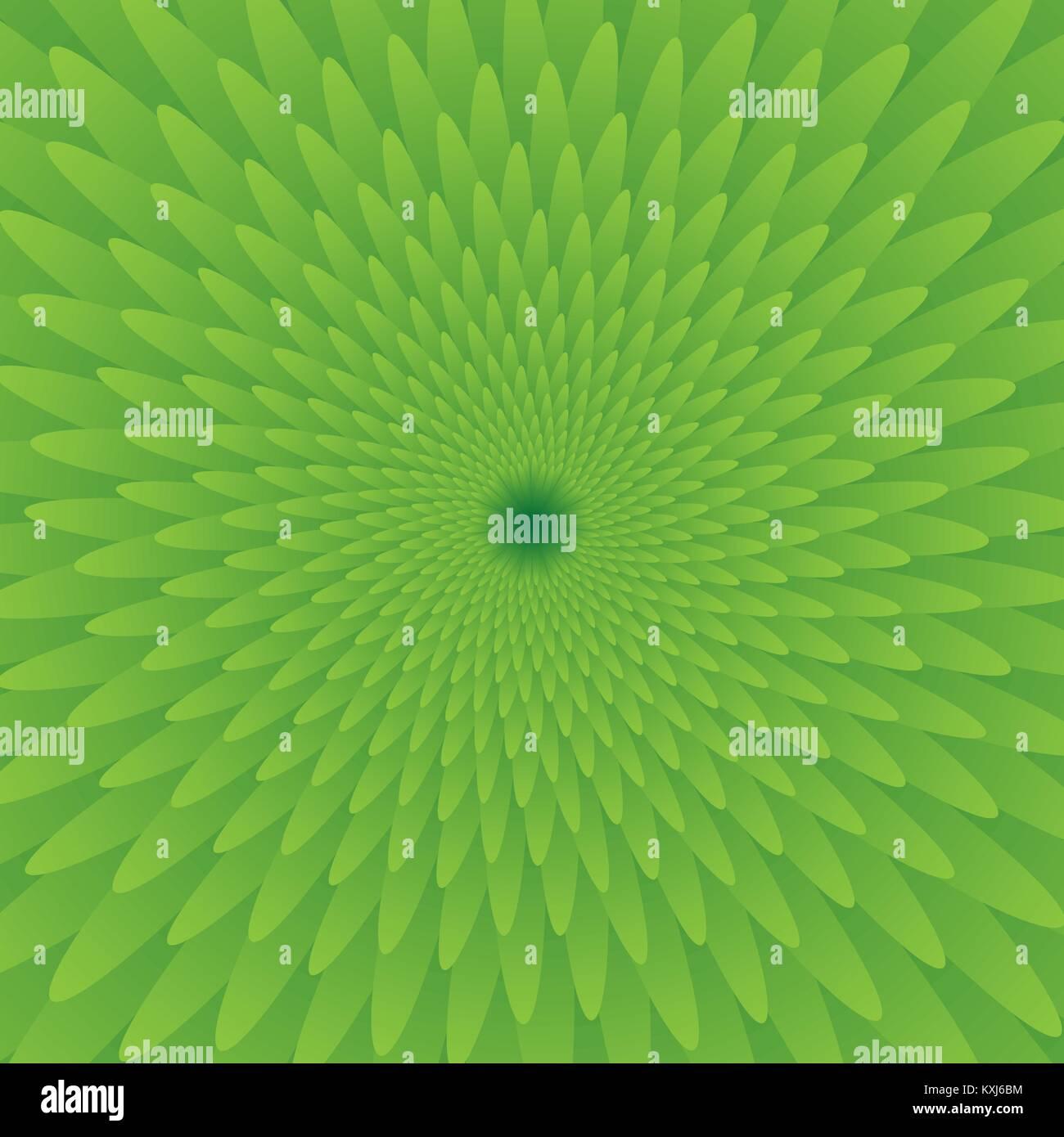 Abstrakt Grün optische Täuschung, kreative vector Hintergrund mit Farbverlauf Blütenblätter, Bewegung simulation Stock Vektor