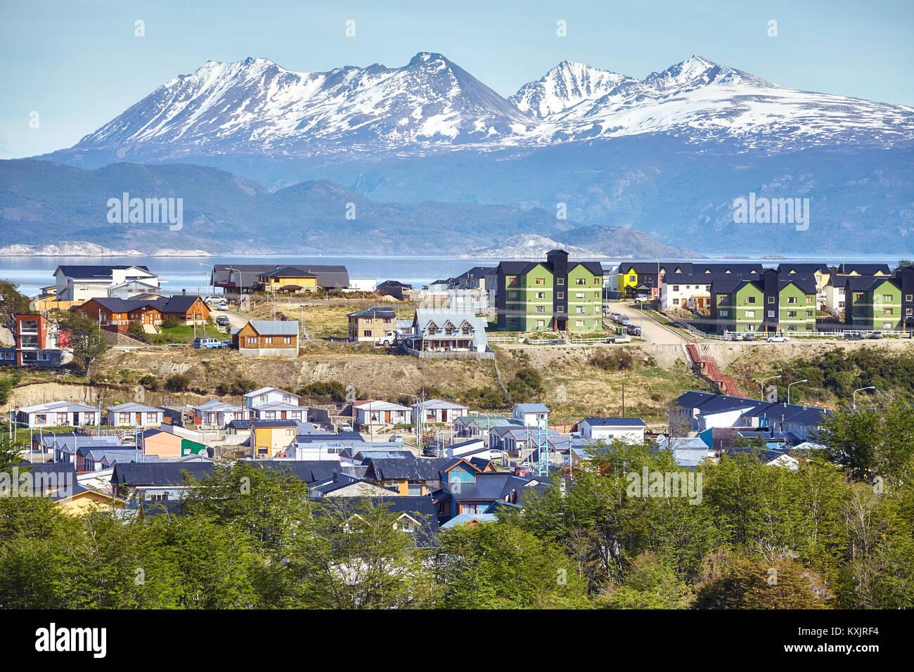 Ushuaia City, die Hauptstadt von Feuerland, die gemeinhin als die südlichste Stadt der Welt bekannt, Argentinien Stockbild