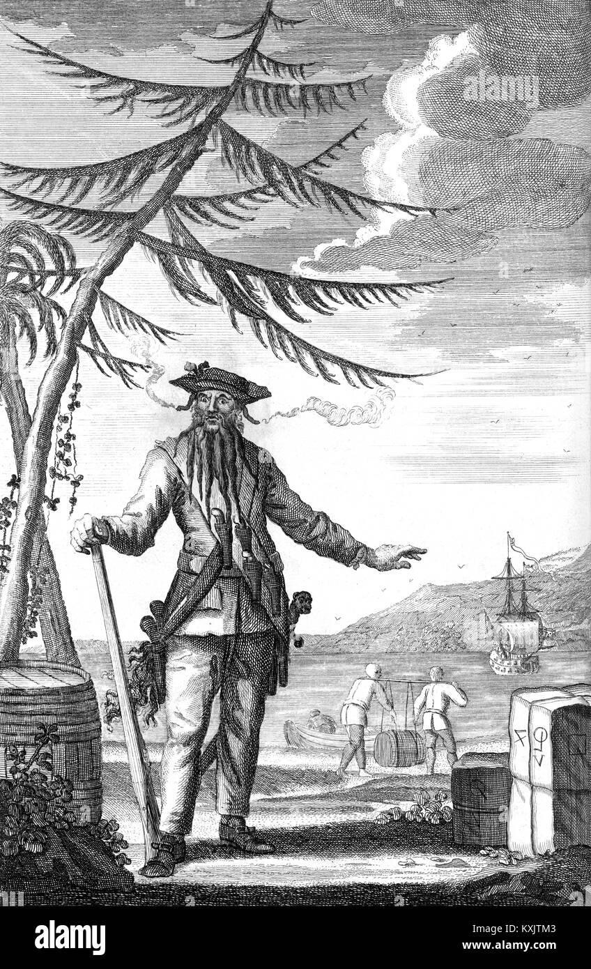 Blackbeard the Pirate, Edward Teach oder Edward Thatch, Blackbeard, ein englischer Pirat Stockbild
