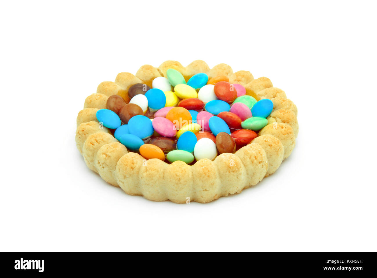 Schokoladenbiskuit mit sprengte Bonbons Stockbild