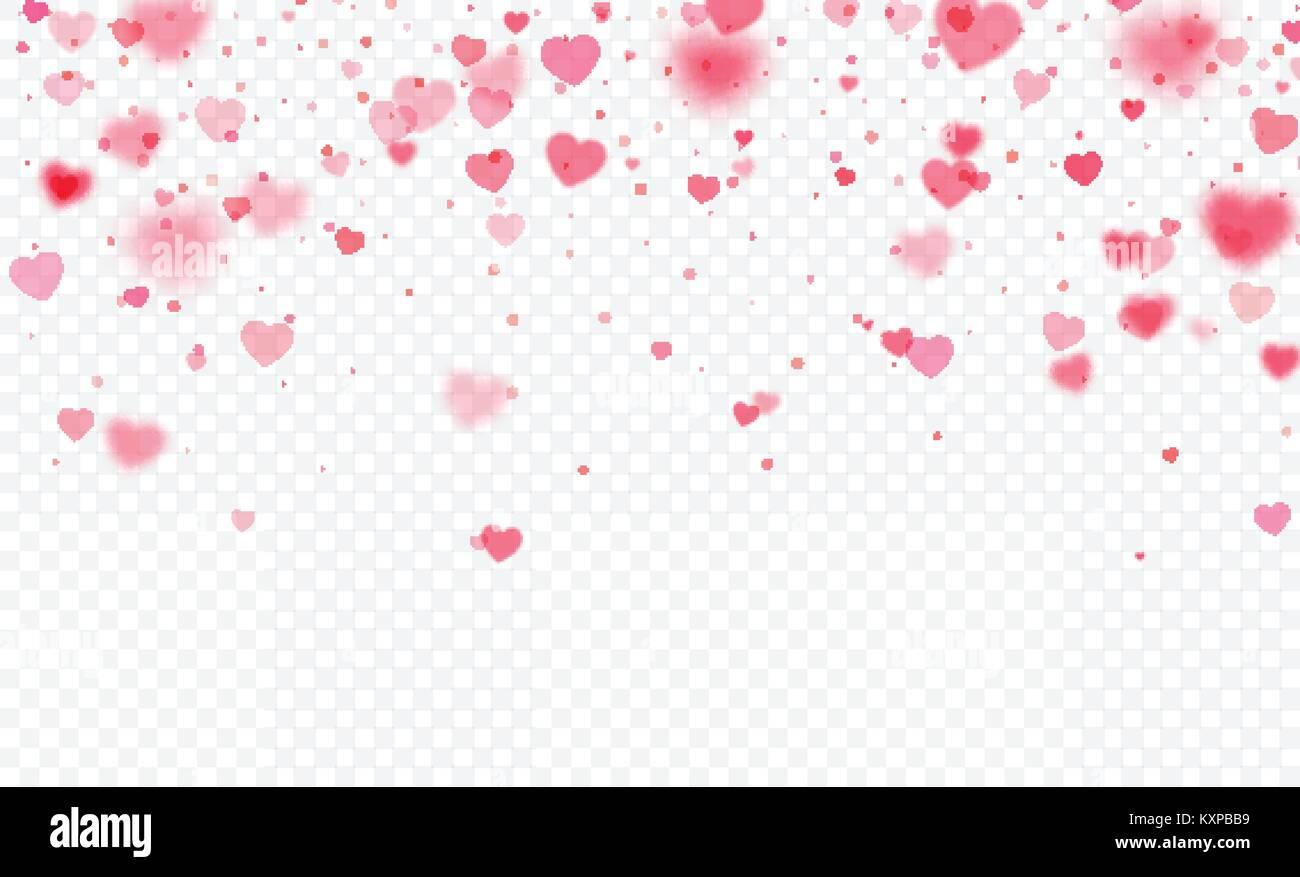 Herz Konfetti fällt auf transparentem Hintergrund. Valentines Tag ...